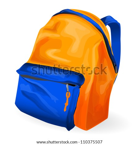 Vector Illustration of orange and blue school bag on white background