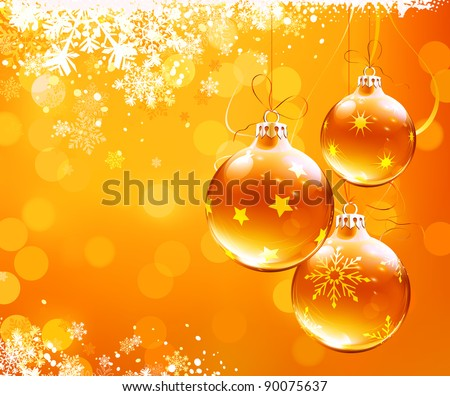 Vector illustration of orange christmas abstract background with cool snowflakes and Christmas decorations - stock vector