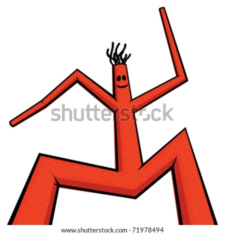 Vector illustration of orange dancing man - stock vector
