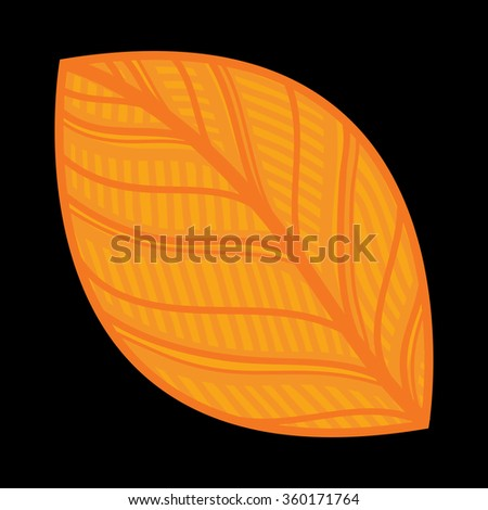 Vector illustration of orange leaf on black background