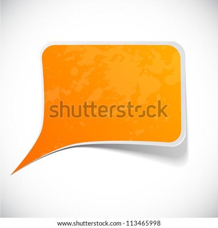 Vector illustration of Orange paper splash speech. - stock vector