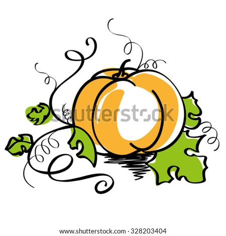 Vector illustration of orange pumpkin with curved stem and green leaves isolated on white background. - stock vector