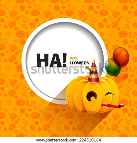 Vector illustration of orange seamless patterns for a happy Halloween party. Merry pumpkin for Halloween with balloons and a festive cap. Use for brochures, printed materials, banner, greeting, card. - stock vector
