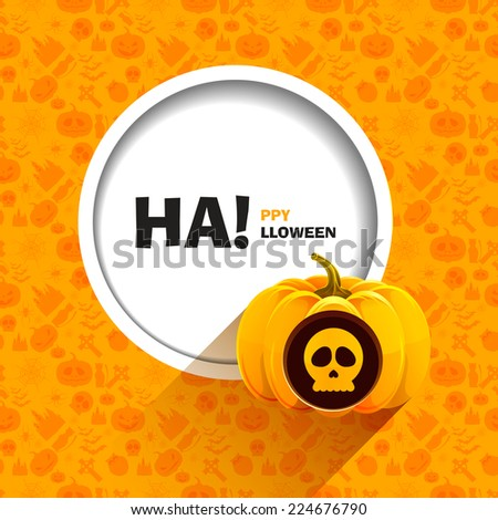 Vector illustration of orange seamless patterns for a happy Halloween party. Skull carved on a pumpkin for Halloween. Use for brochures, printed materials, banner, greeting, card - stock vector