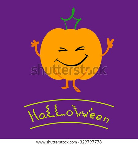 Vector illustration of orange smiling pumpkin with green leaf as a crown isolated on violet background for card, congratulation, invitation for Halloween and Thanksgiving Day. - stock vector