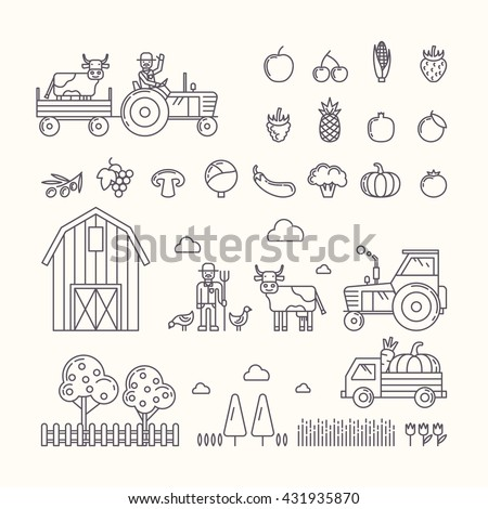 Vector illustration of organic farm. Set design elements, vegetables and fruits in modern linear graph.