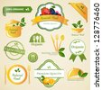 Vector Illustration of Organic Food Labels and Elements - stock vector