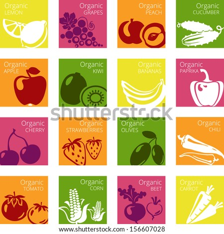Vector illustration of Organic fruits and vegetables labels - stock vector