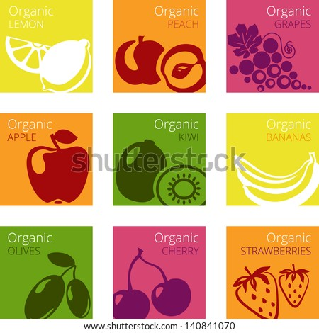 Vector illustration of Organic fruits labels: kiwi, bananas, olives, strawberries, apple; grapes; lemon; peach, cherry - stock vector