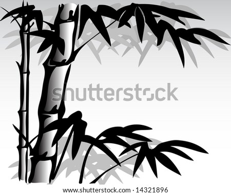 vector illustration of oriental inspired bamboo painting