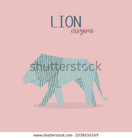 Vector Illustration Of Origami Lion Paper Animal