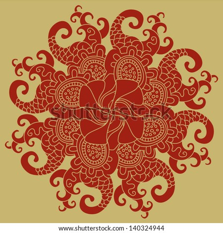 Vector illustration of Ornamental round oriental pattern for your design