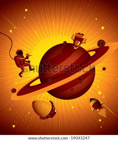 Vector Illustration of Outer Space Elements - stock vector