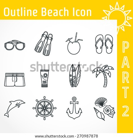 Vector Illustration of Outline Beach Icon for Design, Website, Background, Banner. Tourism Infographic Silhouette Element. Travel Sun and Sea Resort Template. Sunglasses, surf, palm tree, flip flop - stock vector