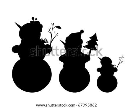 Vector illustration of outline of three snowmen - stock vector