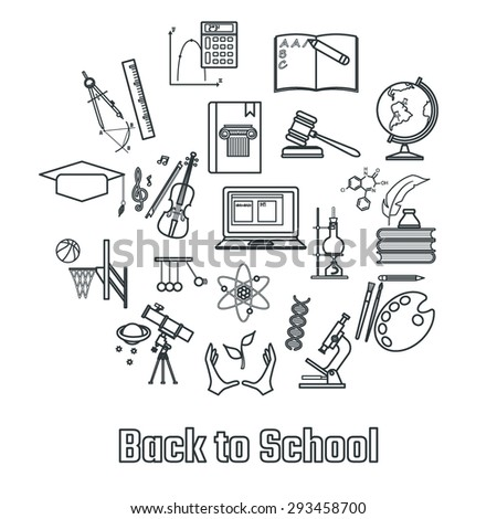 Vector Illustration Of Outline School Subject Icon For Design Website Background Banner