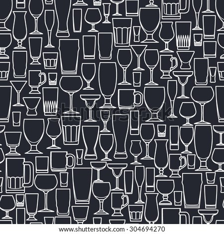 Vector Illustration of Outline silhouette Set of Bar Glass  for Design, Website, Background, Banner. Restaurant Seamless Pattern Template for Menu. Vodka, Beer, Whiskey, Wine - stock vector