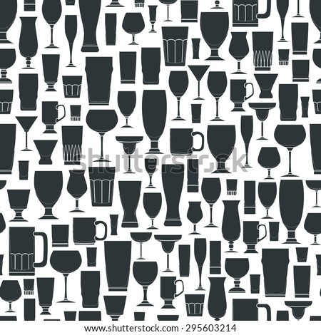 Vector Illustration of Outline silhouette Set of Bar Glasses  for Design, Website, Background, Banner. Restaurant Seamless Pattern Template for Menu. Vodka, Beer, Whiskey, Wine