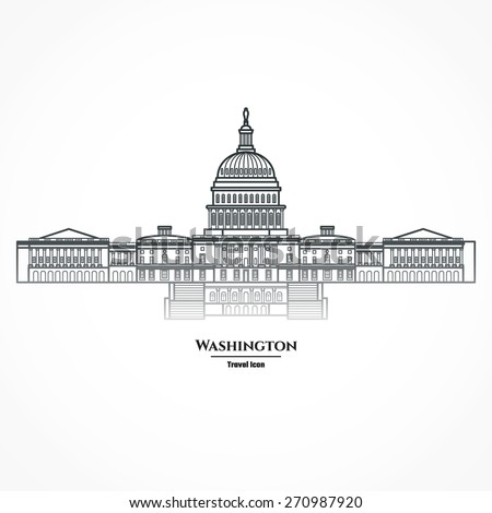 Vector Illustration of Outline     Washington United States Capitol Icon for Design, Website, Background, Banner. Silhouette Landmark Symbol of USA. Travel Infographic Element Template. - stock vector