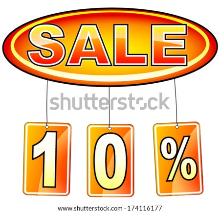 vector illustration of oval sale icon with percentage