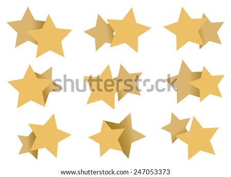Vector illustration of overlapping yellow star shapes in different size and position isolated on white background