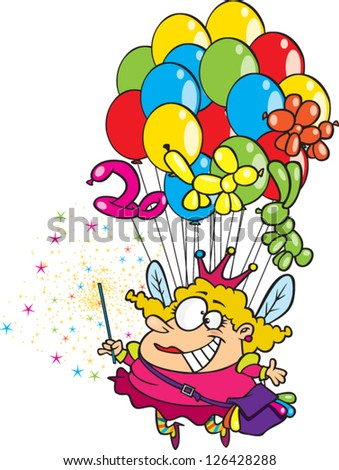 Vector illustration of overweight fairy with wand being held up by balloons
