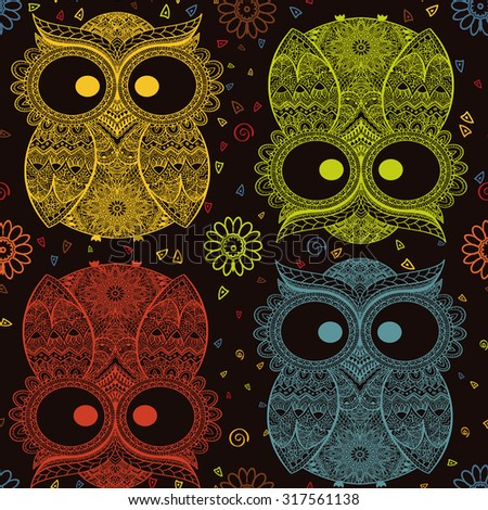 Vector illustration of owl. Bird illustrated in tribal.Owl with flowers on dark background. Colored and ornamental owl. - stock vector