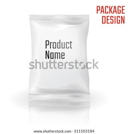 Vector Illustration of Package snack bag for Design, Website, Background, Banner. Pack Element. Mock up Template for your branding or product - stock vector