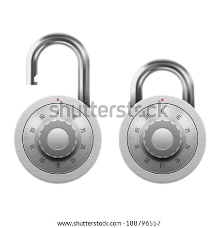 Vector illustration of padlock with combination lock wheel