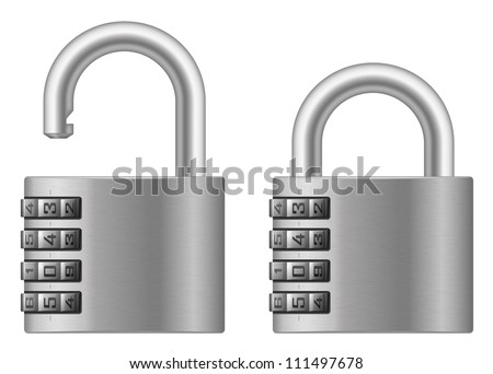 Vector illustration of padlock with numeral combination lock wheel - stock vector
