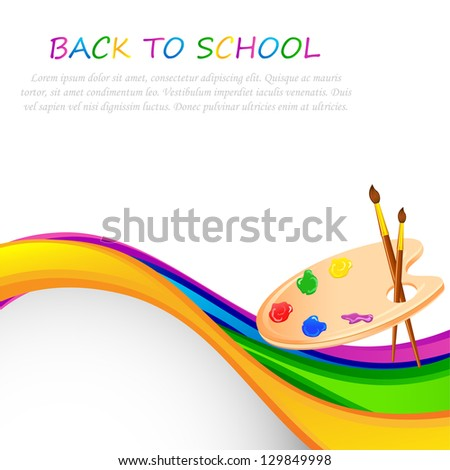 vector illustration of paint brush and palette against abstract background - stock vector
