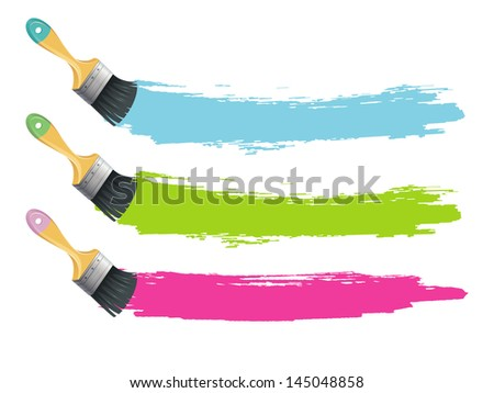 Vector illustration of Paint brushes with color splashes