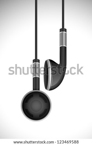 vector illustration of pair of earphone hanging - stock vector