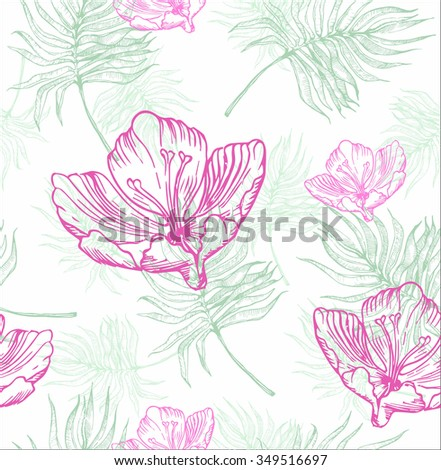 Vector illustration of palm tree leaves and tropical flowers seamless - hand drown plant and botanical texture