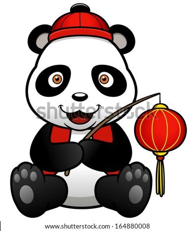 Vector illustration of panda cartoon - stock vector