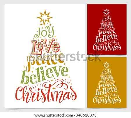 Vector illustration of paper cards with holidays lettering. Joy, love, peace, believe Christmas text for invitation and greeting card, prints and posters. Hand drawn vintage design