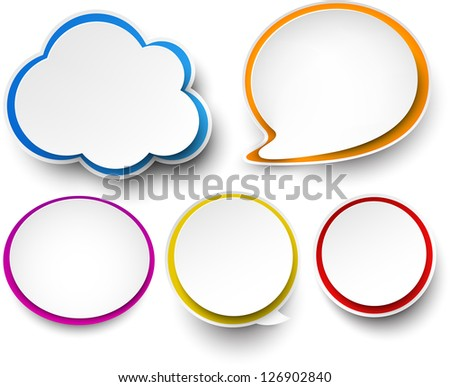 Vector illustration of paper clouds and speech bubbles. Eps10. - stock vector