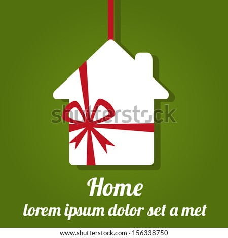 Vector illustration of paper house with ribbon on green background. Home gift - stock vector