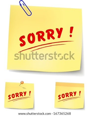 vector illustration of paper note to say sorry