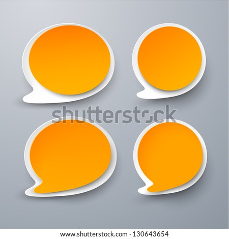 Vector illustration of paper orange rounded speech bubbles. Eps10. - stock vector