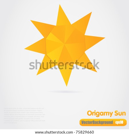 Vector illustration of paper origami sun - stock vector