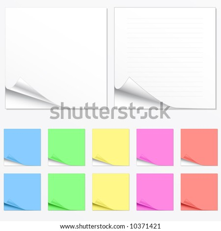 Vector illustration of paper pads in different colors with shadowed curl. Two main versions with lines and without. - stock vector