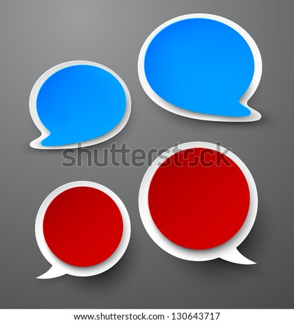 Vector illustration of paper rounded speech bubbles. Eps10.