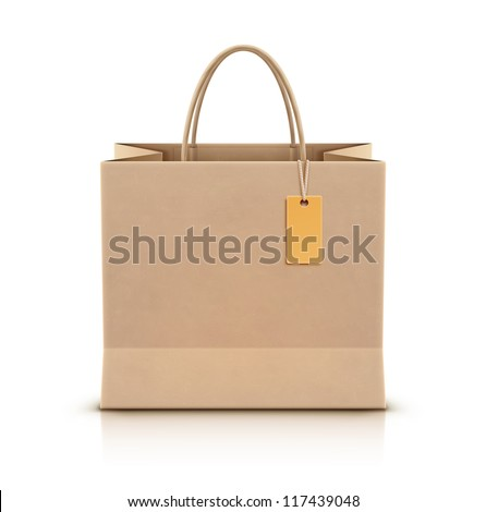 Vector illustration of paper shopping bag with paper handles and funky tag - stock vector
