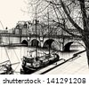 Vector illustration of Paris- Ile de la Cite - Pont neuf (hand drawing) - stock vector