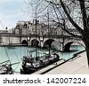 Vector illustration of Paris- Ile de la Cite - Pont neuf (hand drawing) - stock vector