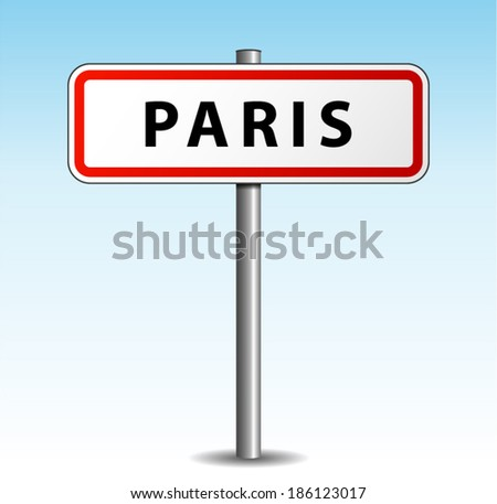 Vector illustration of paris signpost on sky background