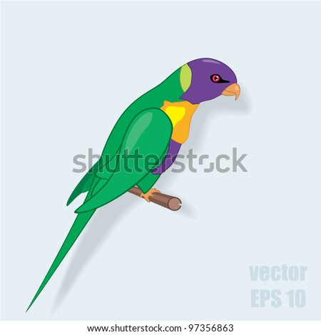 Vector illustration of parrot on a perch - stock vector