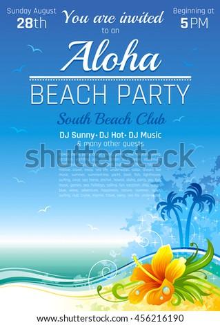 Vector illustration party invitation design hawaiian stock vector vector illustration of party invitation design for hawaiian luau beach party with tropical island sand stopboris Gallery