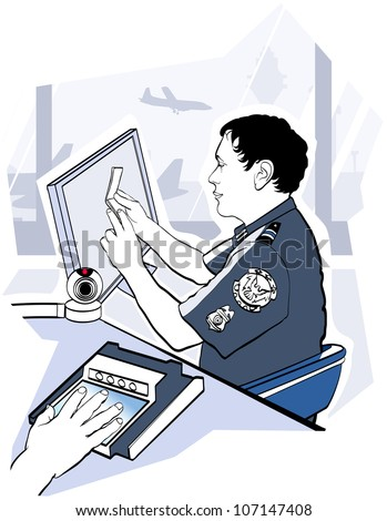 Vector illustration of passport check control at the airport - stock vector